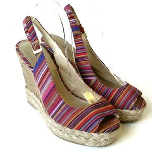 Montego Bay Club Colorful Slingback Wedges Sz 8